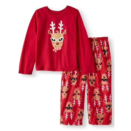 Holiday Family Sleep Reindeer Jersey Long Sleeve Top and Brushed Micro Jersey Pant, 2-piece Pajama Set (Toddler Girls)