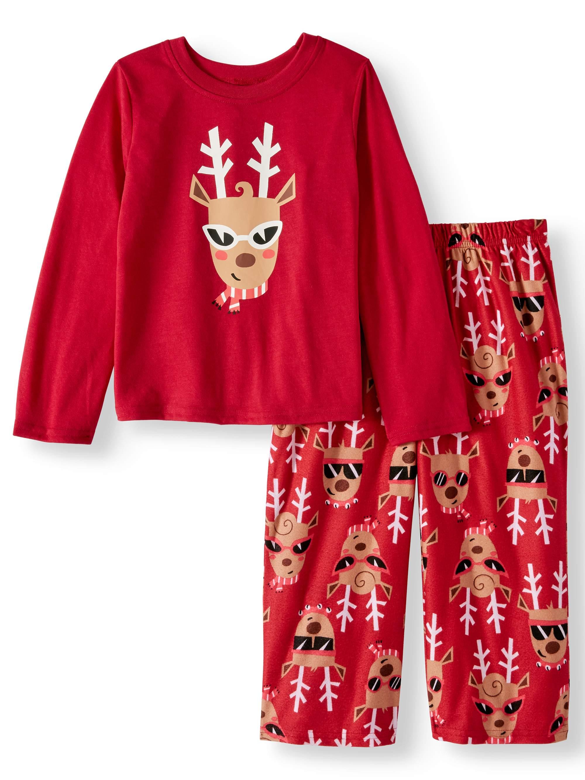 Holiday Family Sleep Reindeer Jersey Long Sleeve Top and Brushed Micro Jersey Pant, 2-piece Pajama Set (Toddler Girls)