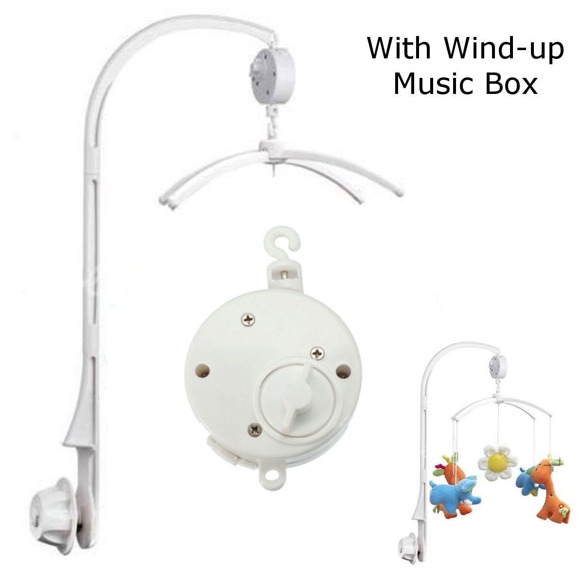 Baby Crib Bell Musical Mobile Plays Tunes Wind-up Music Box+ Baby Crib Mobile Bed Bell Holder Arm Bracket... by