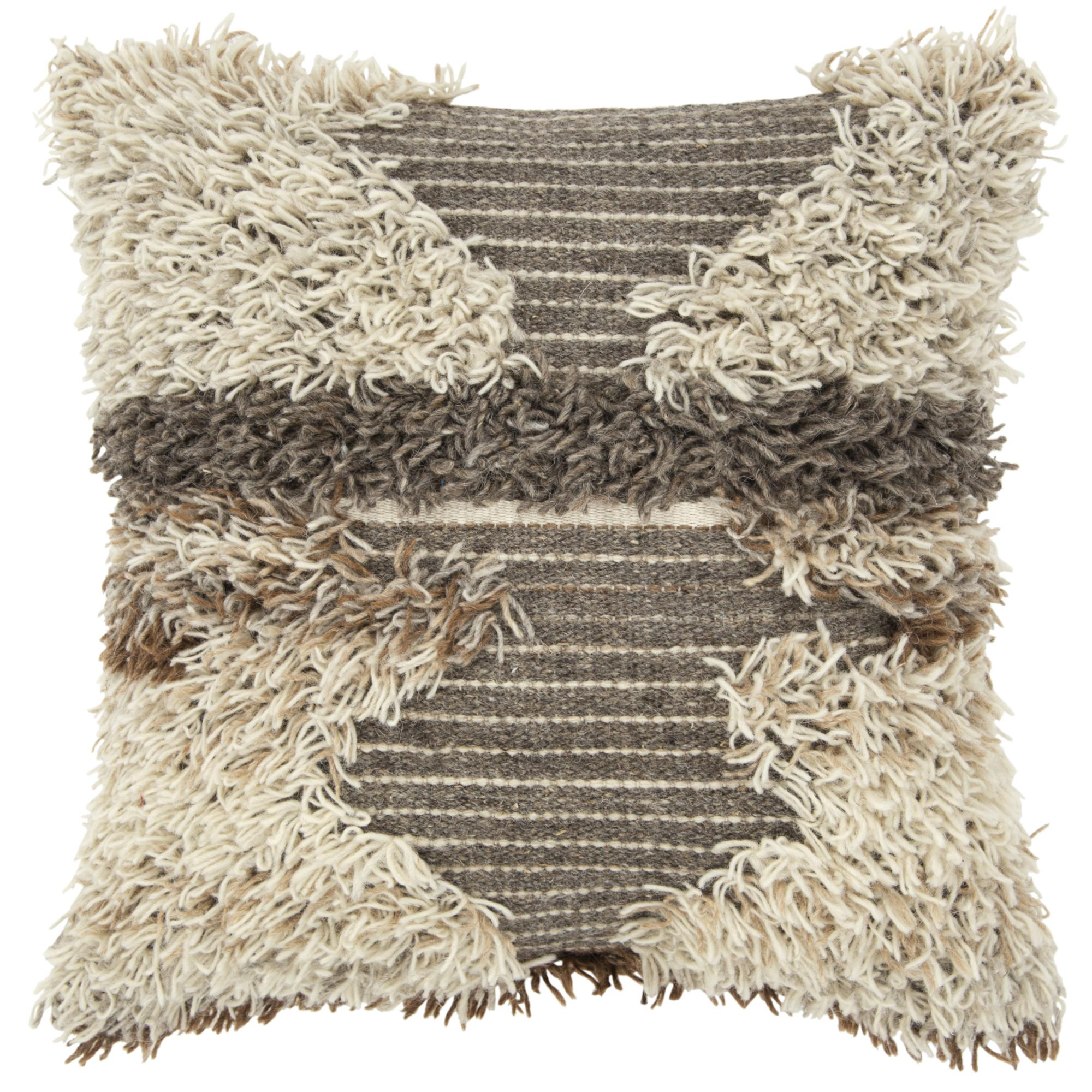 """Rizzy Home Decorative Poly Filled Throw Pillow Abstract 22""""X22"""" Brown"""
