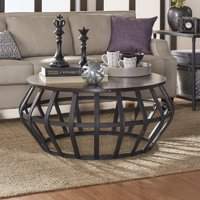 Weston Home Round Cage Shape Wood and Metal Accent Cocktail Coffee Table