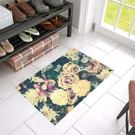MKHERT Old Flower Style Doormat Rug Home Decor Floor Mat Bath Mat 23.6x15.7 inch ()