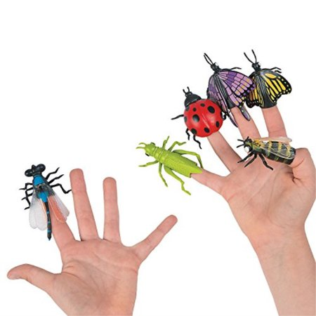 vinyl insect finger puppets - pack of 6 - 1.75