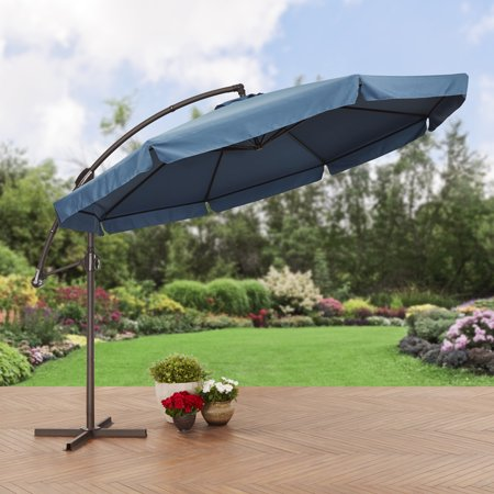 Umbrellas Patio Furniture - Better Homes and Gardens 11' Offset Umbrella with Detachable Net, Blue
