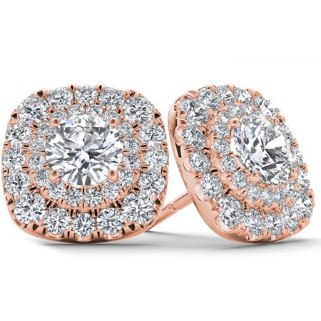 1 Carat T.W. Diamond 10kt Rose Gold Double-Halo Stud Earrings