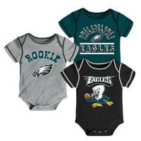 c42d7dbb591 Product Image Newborn & Infant Midnight Green/Black/Gray Philadelphia Eagles  3-Pack Bodysuit Set
