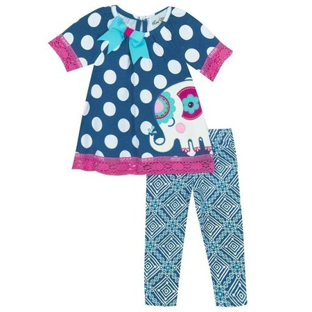 Rare Editions Baby Girls Blue Polka Dot Elephant Print 2 Pc Pant Outfit