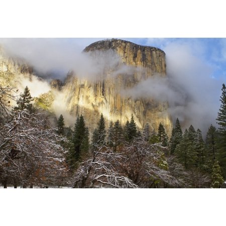 Yosemite National Parks El Capitan  El Cap  Peaks Through Winter Storm Clouds During A December Stormcalifornia United States Of America Canvas Art   Tracy Barbutes  Design Pics  38 X 24