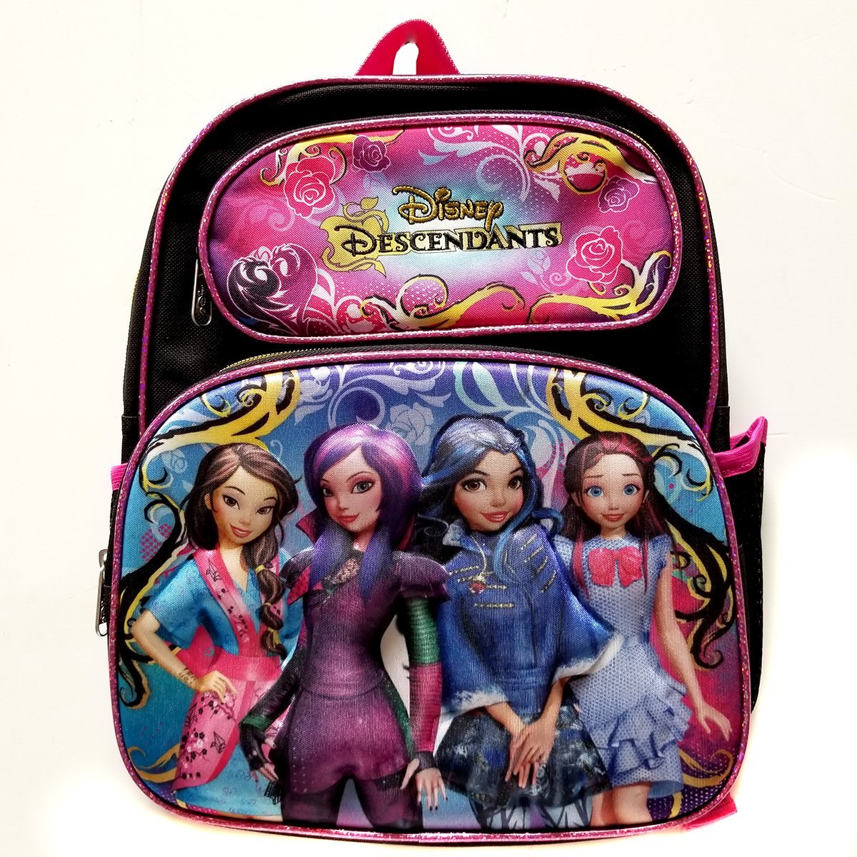 "Deluxe 3D Disney Cartoon Descendants 12"" Double Front Pockets With Padded Back and Shoulder Straps That Are... by Disney"