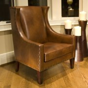 Bristol Leather Top Grain Accent Chair in Rustic