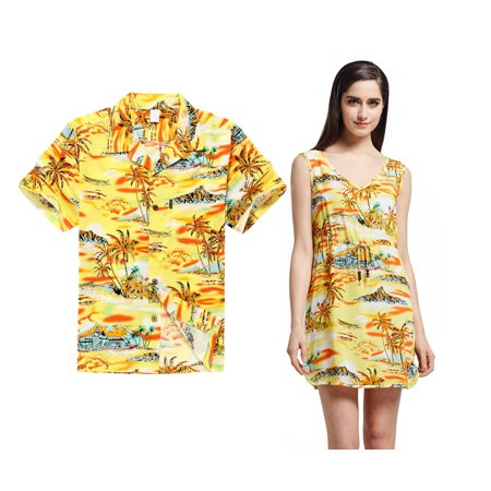 Couple Matching Hawaiian Luau Outfit Aloha Shirt Tunic Slip On Dress in Sunset Yellow Men L Women 2XL