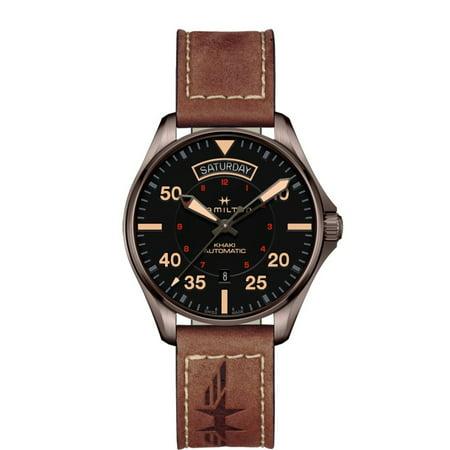 Hamilton H64605531 Khaki Pilot Day Date Automatic Men's Watch Leather 42mm Fighter Pilot Watch