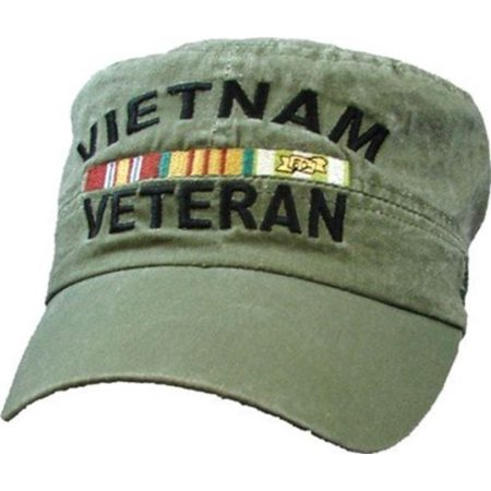 VIETNAM VETERAN W/ RIBBONS EMBROIDERED FLAT TOP PATROL STYLE HAT CAP OD GREEN