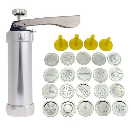 25Pcs Aluminium Alloy Press Machine Biscuit Making Pump Multi Pattern Cookie Biscuits Maker Cookies Mold Extruder Kitchen Cake Decorating 20 Moulds+ 4 Nozzles](Halloween Cookie Decorating Class)