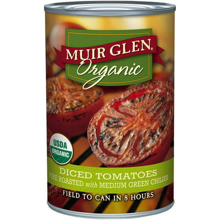 Muir Glen Organic Fire Roasted Diced Tomatoes with Medium Green Chilies 14.5 Oz (Pack of (Organic Canned Tomatoes)