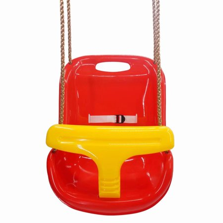 Clearance High Back Infant Swing Wide Seat Belt Toddler Child Kid Outdoor Play Red
