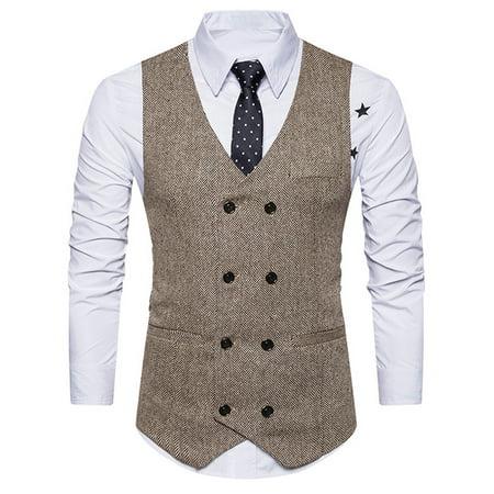 Trim Tweed Suit (iLH Men Formal Tweed Check Double Breasted Waistcoat Retro Slim Fit Suit Jacket KH/L)