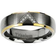 Daxx Men's CZ Titanium Two-Toned Ring