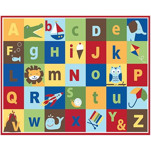 Mainstays Kids Teach Me Alphabet Nylon Rug Multi Color