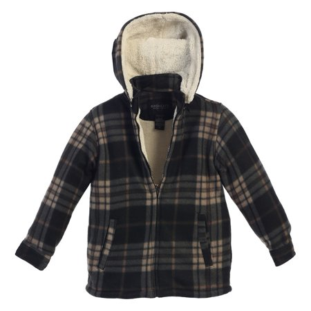 Gioberti Boys Black Tan Plaid Sherpa Lined Hooded Flannel Jacket (Flannel Lined Action Jacket)