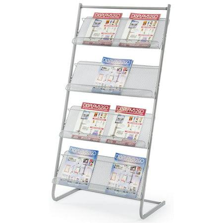 Mesh Shelving - Magazine Rack for Offices, Stores or Retail, (4) Mesh Shelves, 23.5
