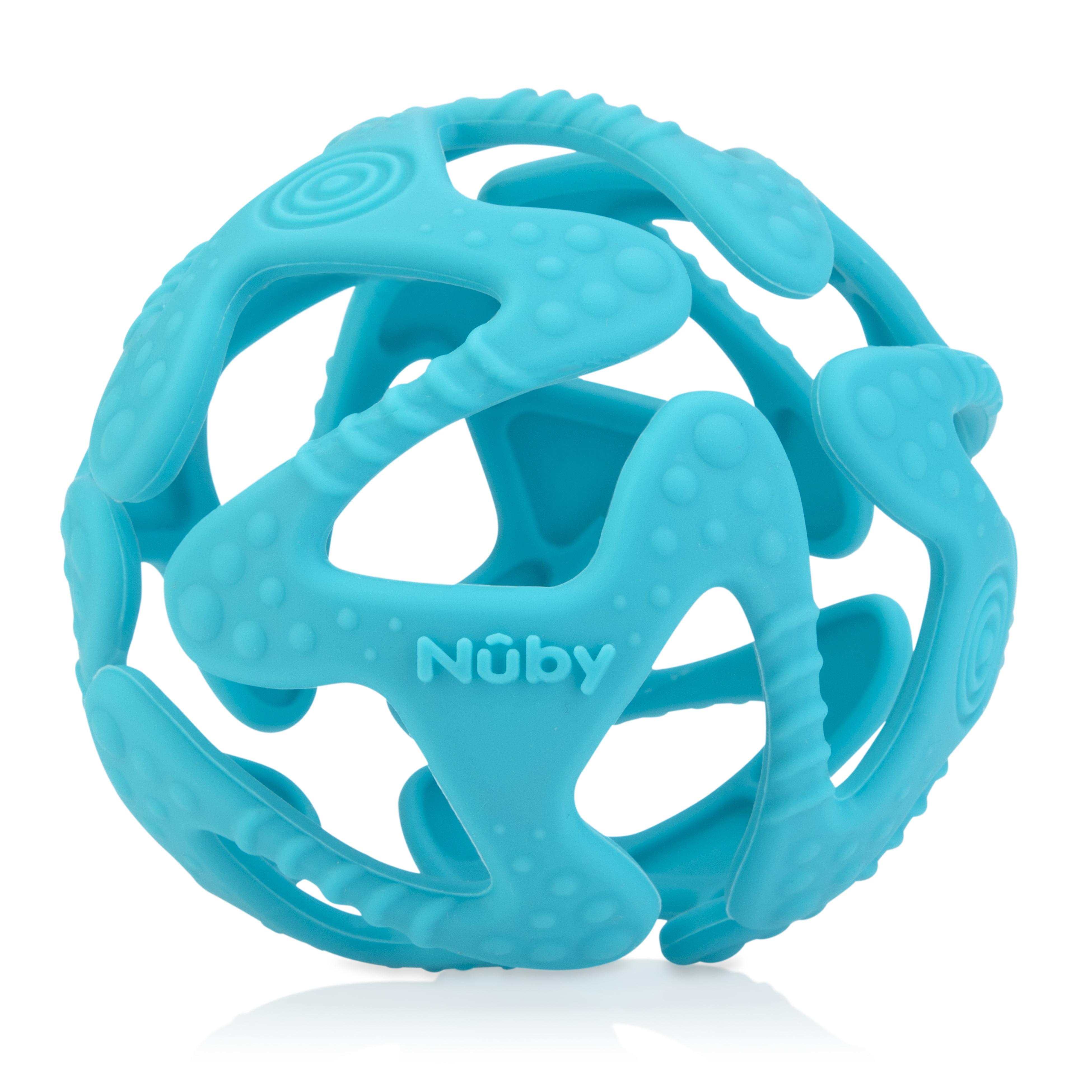 Nuby Silicone Tuggy Ball, Aqua