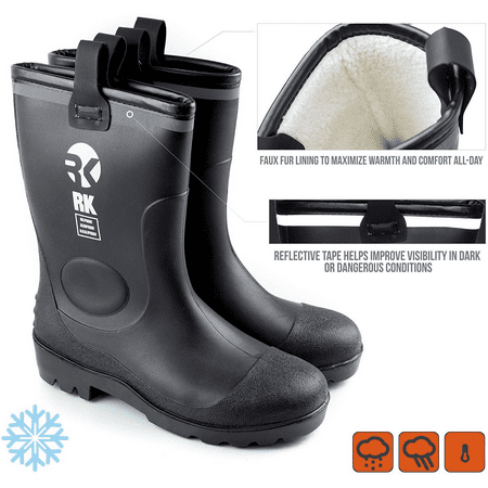 RK Men's Insulated Waterproof Fur Interior Rubber Sole Winter Snow Cold Weather Rain Boots - 13 D(M)