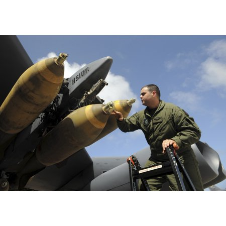 Andersen Air Force Base Guam January 29 2009   Captain Inspects The M 117 Ordnance On His B 52 Stratofortress Before A Live Drop Mission For Exercise Tropic Fury Poster Print
