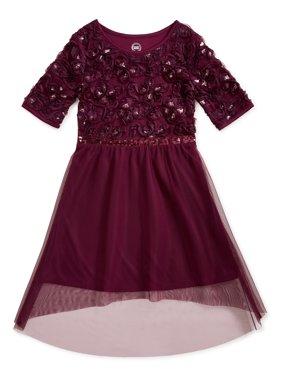 Wonder Nation Girls Hi-Low Holiday Glitter & Mesh Dress, Sizes 4-18 & Plus