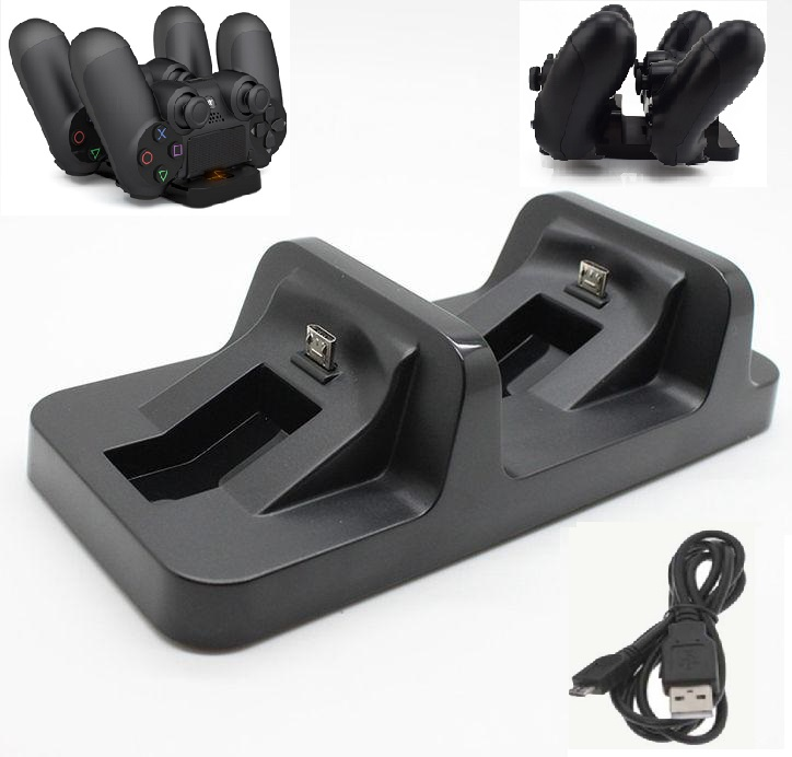 PS4 Controller Charger Docking Station Stand, Dual Wireless Charging Dock Station for Sony Playstation 4 with USB Charger Cable
