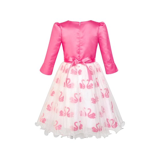 d0ba786b1d Sunny Fashion - Girls Dress 2-in-1 Bolero Elegant Swan Party Dress 6 ...