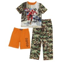 Justice League Graphic Top, Camo Short and Sleep Pant, 3-Piece Pajama Set (Little Boy & Big Boy)