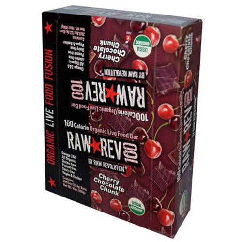 Raw Rev 100 Cherry Chocolate Chunk Organic Live Food Bars, 0.8 oz, 20 count