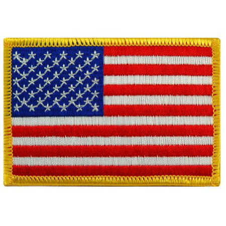 American Flag Embroidered Patch Gold Border USA United States of America Military Uniform (Chevron Military Uniform Patch)