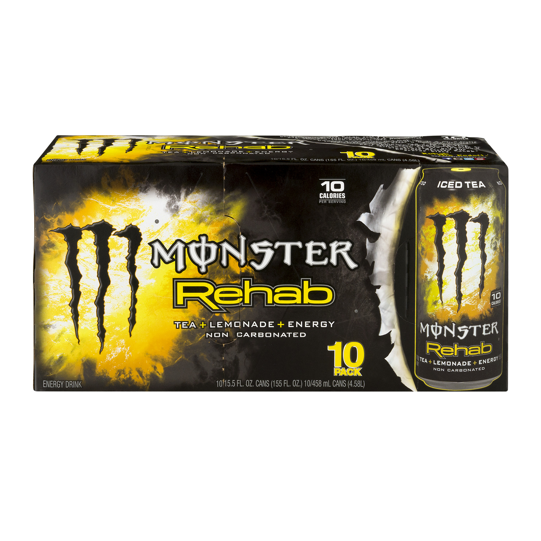 Monster Rehab Energy Drink, Tea + Lemonade, 15.5 Fl Oz, 10 Count