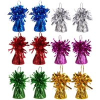 Set Of 12 Balloon Weights - Foil Tinsel Balloon Weights For Kids Birthday Party Supplies, Superhero Party Supplies, 6 Assorted Colors - 2.5 X 3.5 Inches