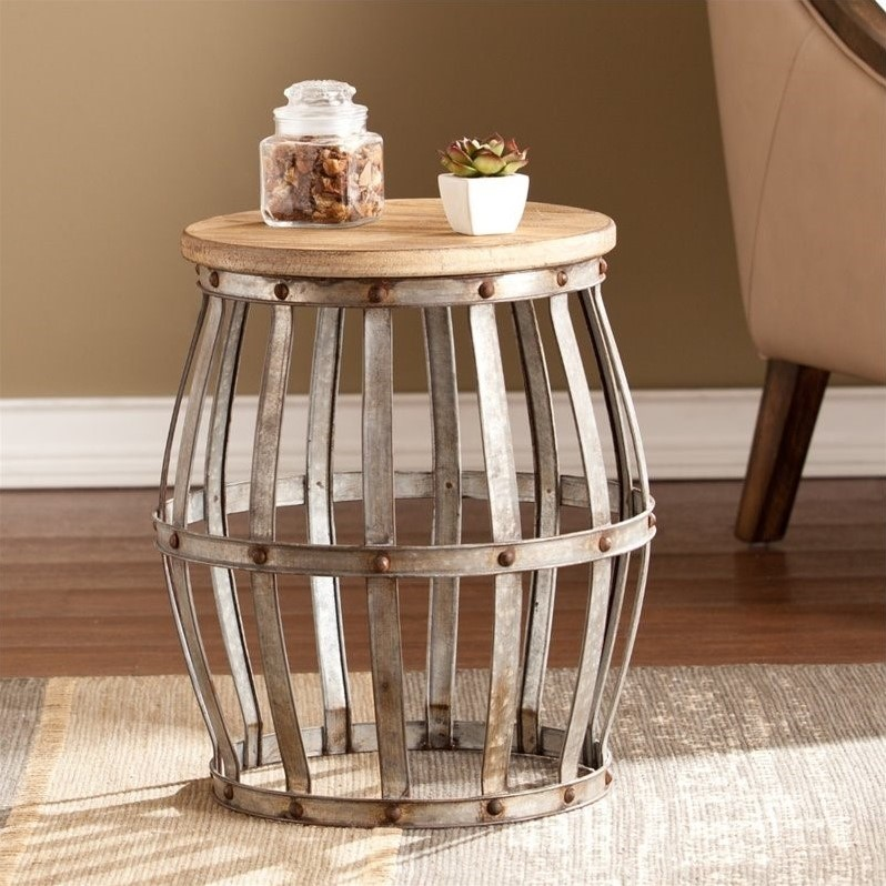 Southern Enterprises Mencino Accent Table in Weathered Fir and Silver by Southern Enterprises