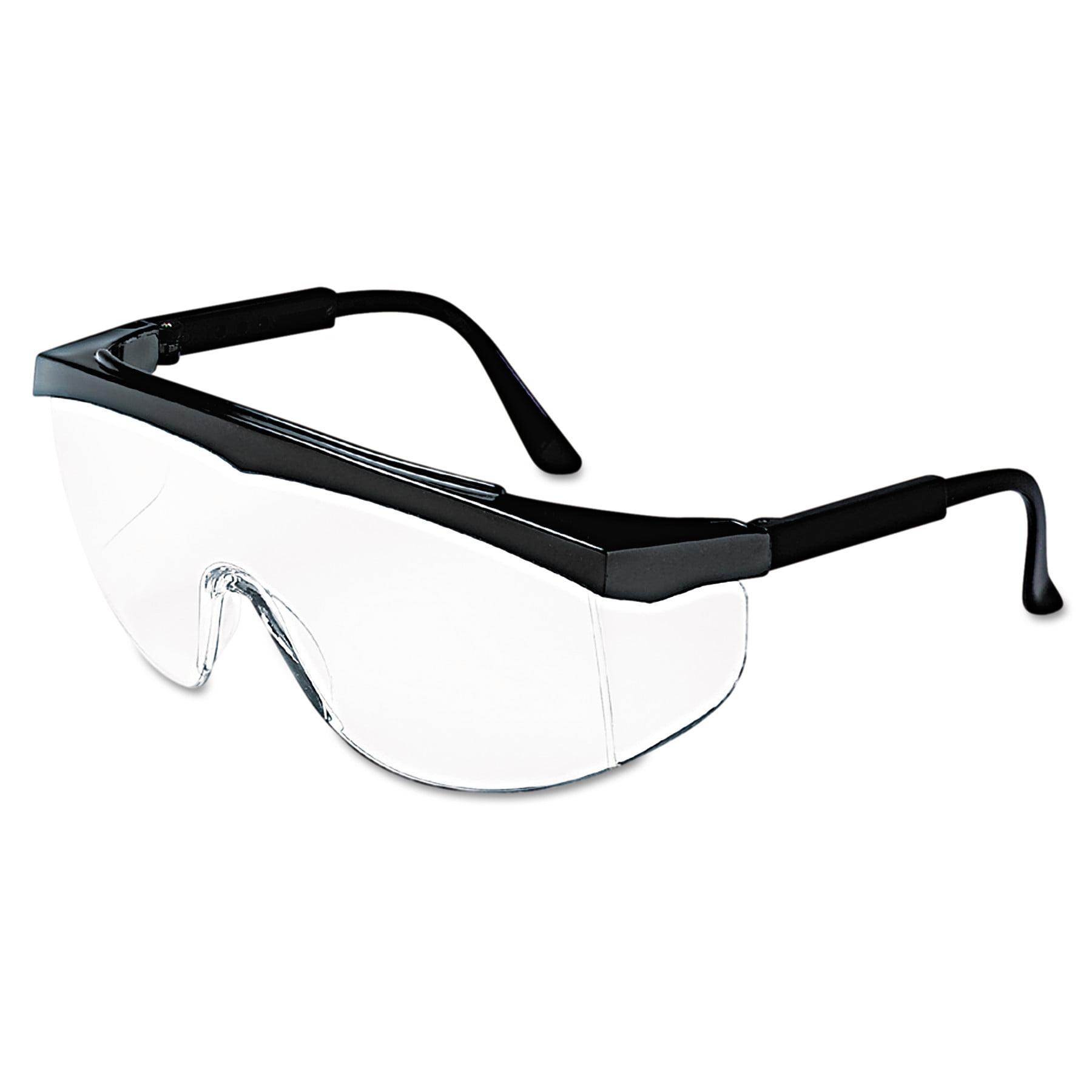 MCR Safety Stratos Safety Glasses, Black Frame, Clear Lens