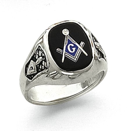 14k White Gold Mens Masonic Ring - 7.3 Grams - Size 10