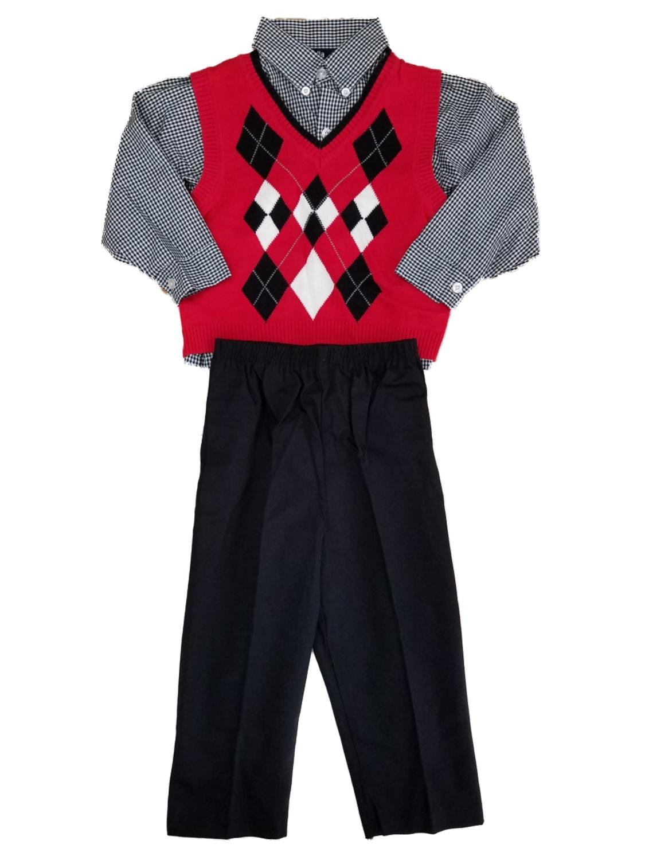 Toddler Boys 3pc Red Black & White Argyle Sweater Vest Plaid Shirt & Pant Set