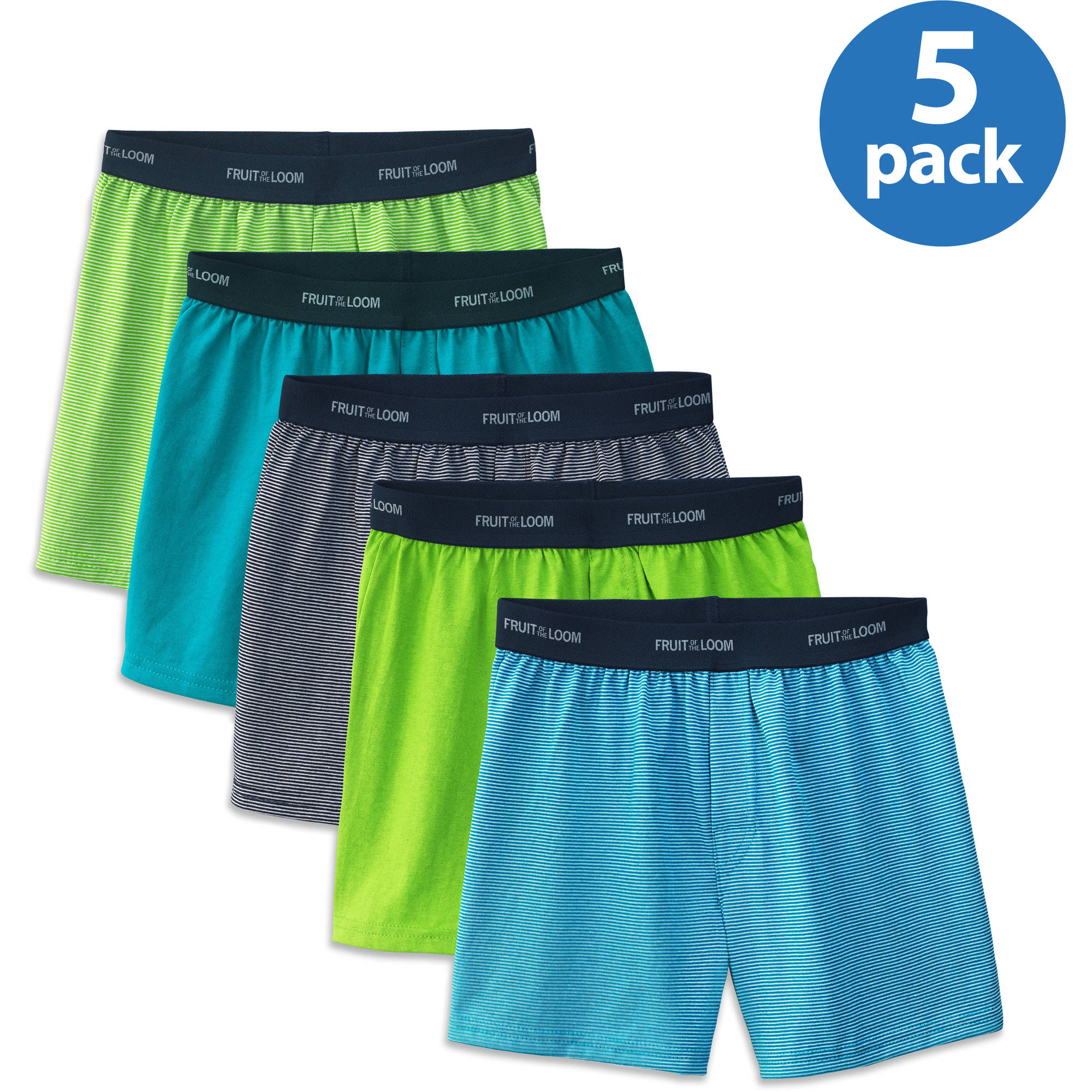 Fruit of the Loom Boys' Stripe/Solid Knit Boxer, 5-Pack