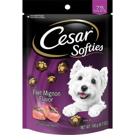 Cesar Softies Dog Treats Filet Mignon Flavor, 6.7 oz. Pouch (75 Treats) - Hot Dog Halloween Treats