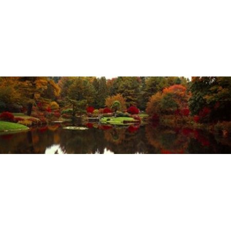 Reflection of trees in water Japanese Tea Garden Golden Gate Park Asian Art Museum San Francisco California USA Poster