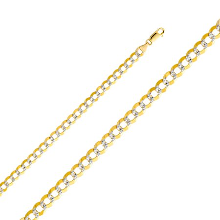 14k Two Tone Italian Gold Curb Open Light 7.0 mm Diamond Cut White Pave Chain Cuban Links Bracelet 8.5 Inches (14k Two Tone Light)