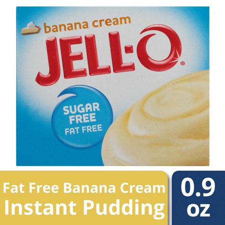 (4 Pack) Jell-O Instant Sugar-Free Fat-Free Banana Pudding & Pie Filling, 0.9 oz Box