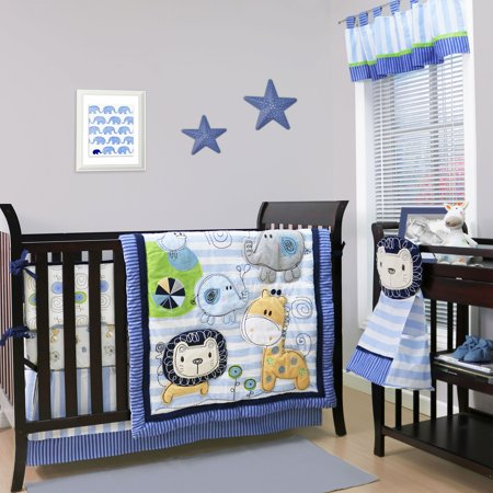 Belle Baby Crib Bedding Set Blue Jungle Theme Sketches 4 Piece