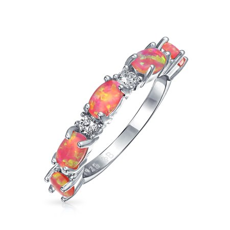 - Thin CZ Stackable Half Eternity Oval Created Pink Opal Band Ring For Women 925 Sterling Silver 1mm October Birthstone