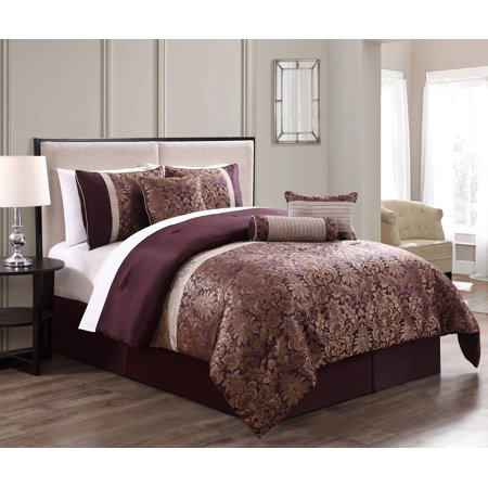 7 Piece Milano Jacquard Purple Gold Comforter Set