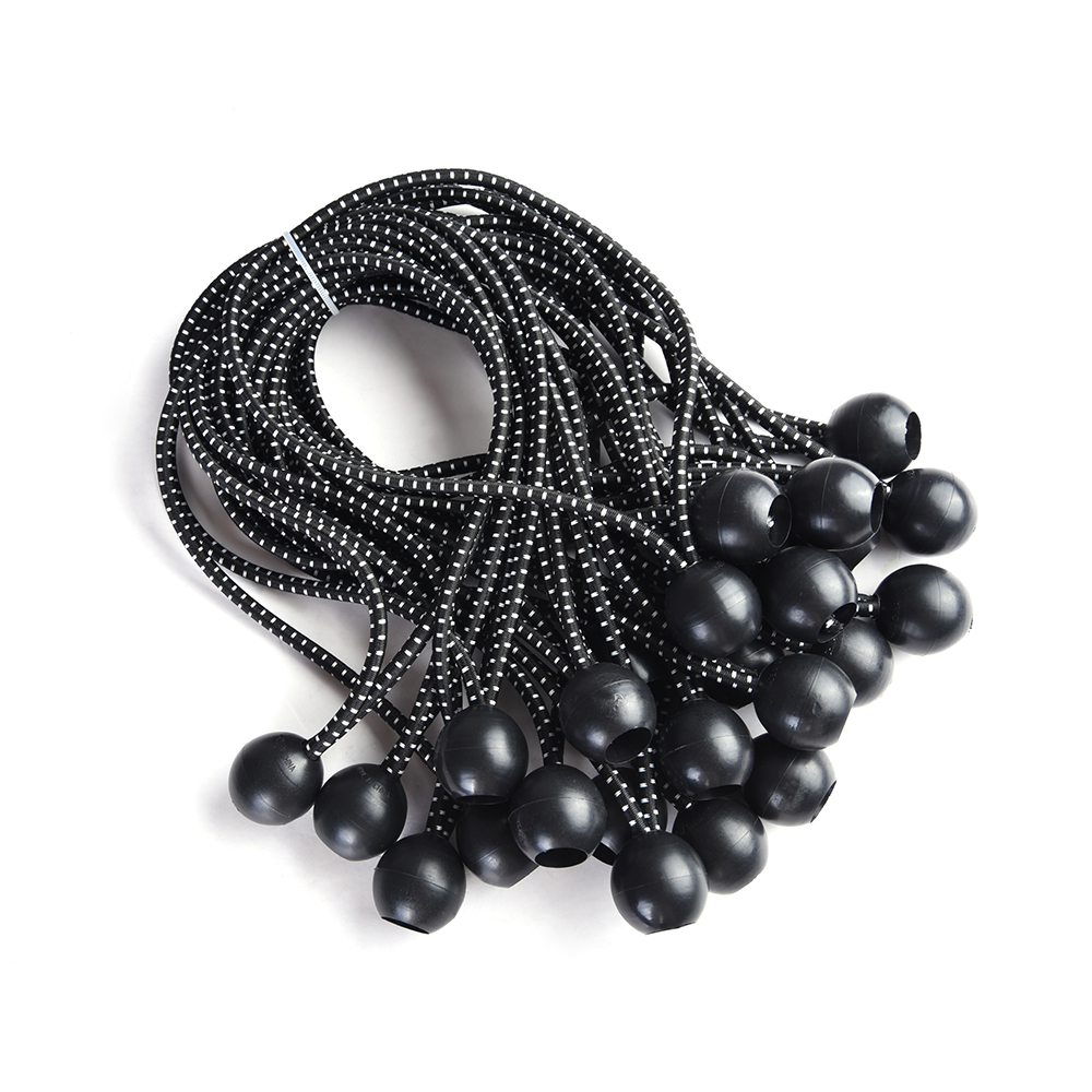 "Yescom 25-Piece 6""/8""/9"" Black Elastic Ball Bungee Loop Cord Tie Down Strap Wire Fix Canopy Tarp Tent"