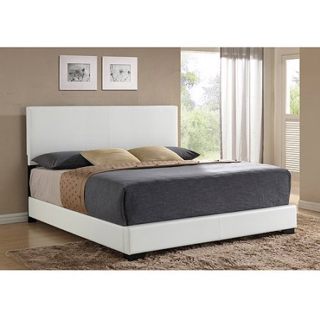 Ireland King Faux Leather Bed, White Contemporary Leather Eastern King Bed